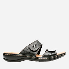 Leisa Lacole Black Leather womens-sandals-slides
