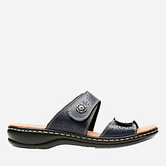 Leisa Lacole Navy Leather womens-sandals-slides