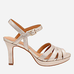 Mayra Poppy Gold Metallic Leather womens-heels