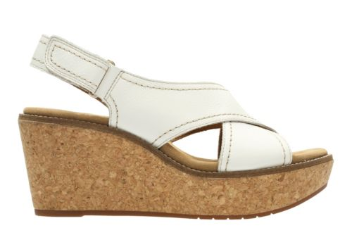 aisley tulip white leather womens wedge sandals clarks