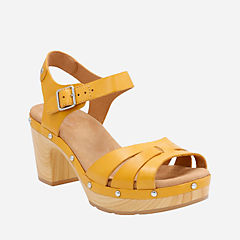 Ledella Trail Yellow Leather womens-heels