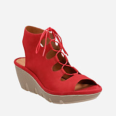 Clarene Grace Red Nubuck womens-sandals-wedge