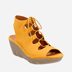 Clarene Grace Yellow Nubuck womens-sandals-wedge
