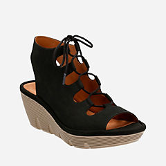 Clarene Grace Black Nubuck womens-sandals-wedge