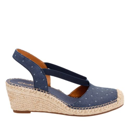 Retro Sandal History: Vintage and New Style Shoes Petrina Kaelie In Navy Fabric $100.00 AT vintagedancer.com
