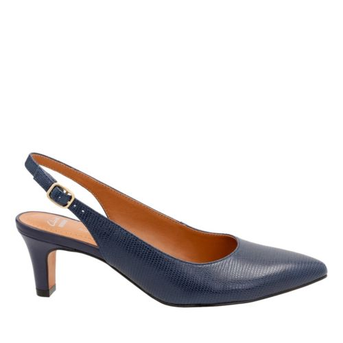 Crewso Riley Navy Leather Lizard Print womens-wide-fit-heels