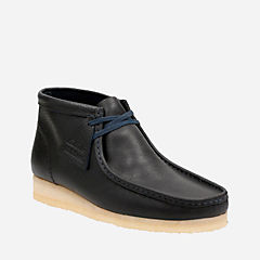 Wallabee Boot Navy Tumbled Leather mens-boots