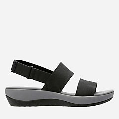 Arla Jacory Black Elastic Fabric womens-sandals-sport