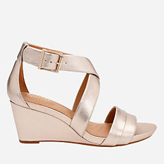 Acina Newport Gold Metallic Leather womens-sandals-wedge