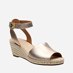 Petrina Selma Gold Metallic Leather womens-sandals-wedge