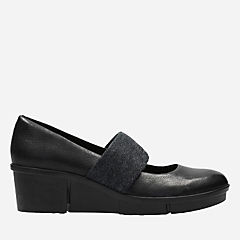 Pola River Black Leather womens-wedges