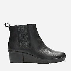 Pola Rain Black Leather womens-ankle-boots