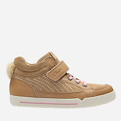 Lil Folk Boo Toddler Tan Leather girls-sneakers
