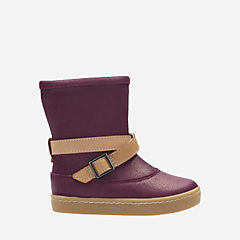 Cute May Fst Dark Plum Leather girls-boots
