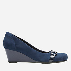 Flores Poppy Navy Suede womens-wide-width