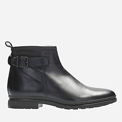 London Stride Black Leather mens-boots