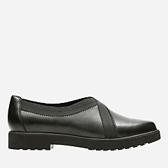 Bellevue Cedar Black Leather womens-wide-width