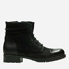 Adelia Stone Black Leather womens-ankle-boots