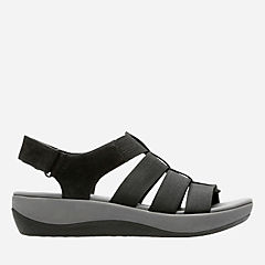 Arla Shaylie Black Elastic Fabric womens-sandals-view-all