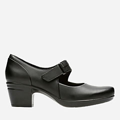 Emslie Lulin Black Leather womens-ortholite