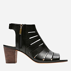 Deloria Ivy Black Leather womens-peep-toe-heels