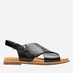Corsio Calm Black Leather womens-flat-sandals