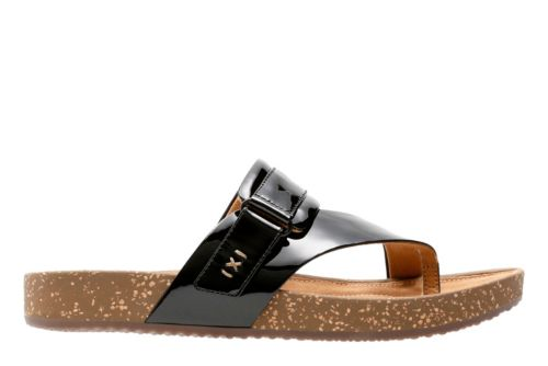 Rosilla Durham Black Patent Leather womens-flip-flops-sandals