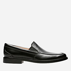 Un Aldric Slip Black Leather mens-loafer-slip-on