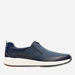 Un Coast Step Dark Navy Leather mens-loafer-slip-on