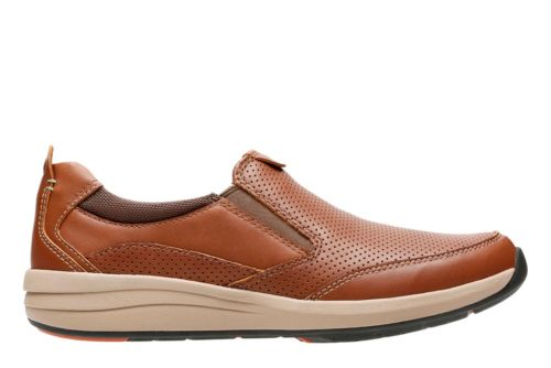 Un Coast Step Dark Tan Leather mens-loafer-slip-on