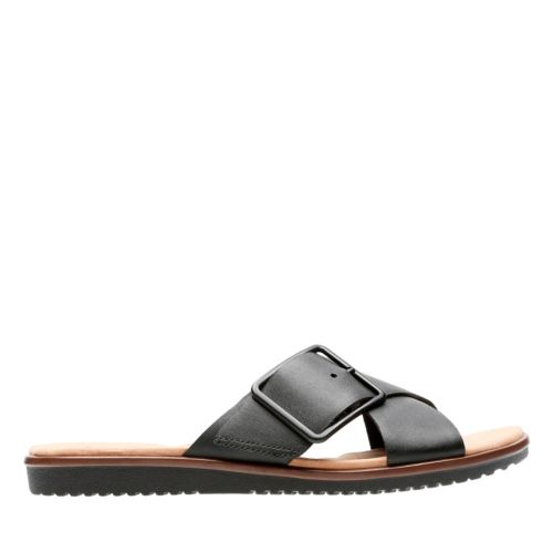 Kele Heather Black Leather womens-flat-sandals