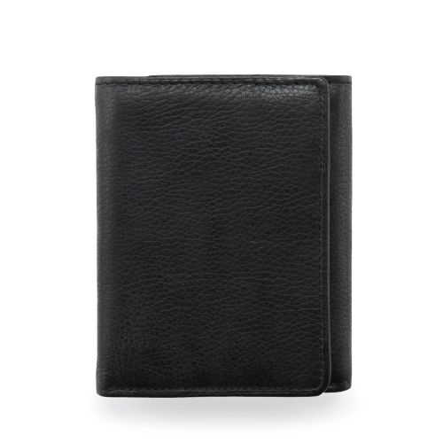 Trifold Wallet Black Leather mens-accessories