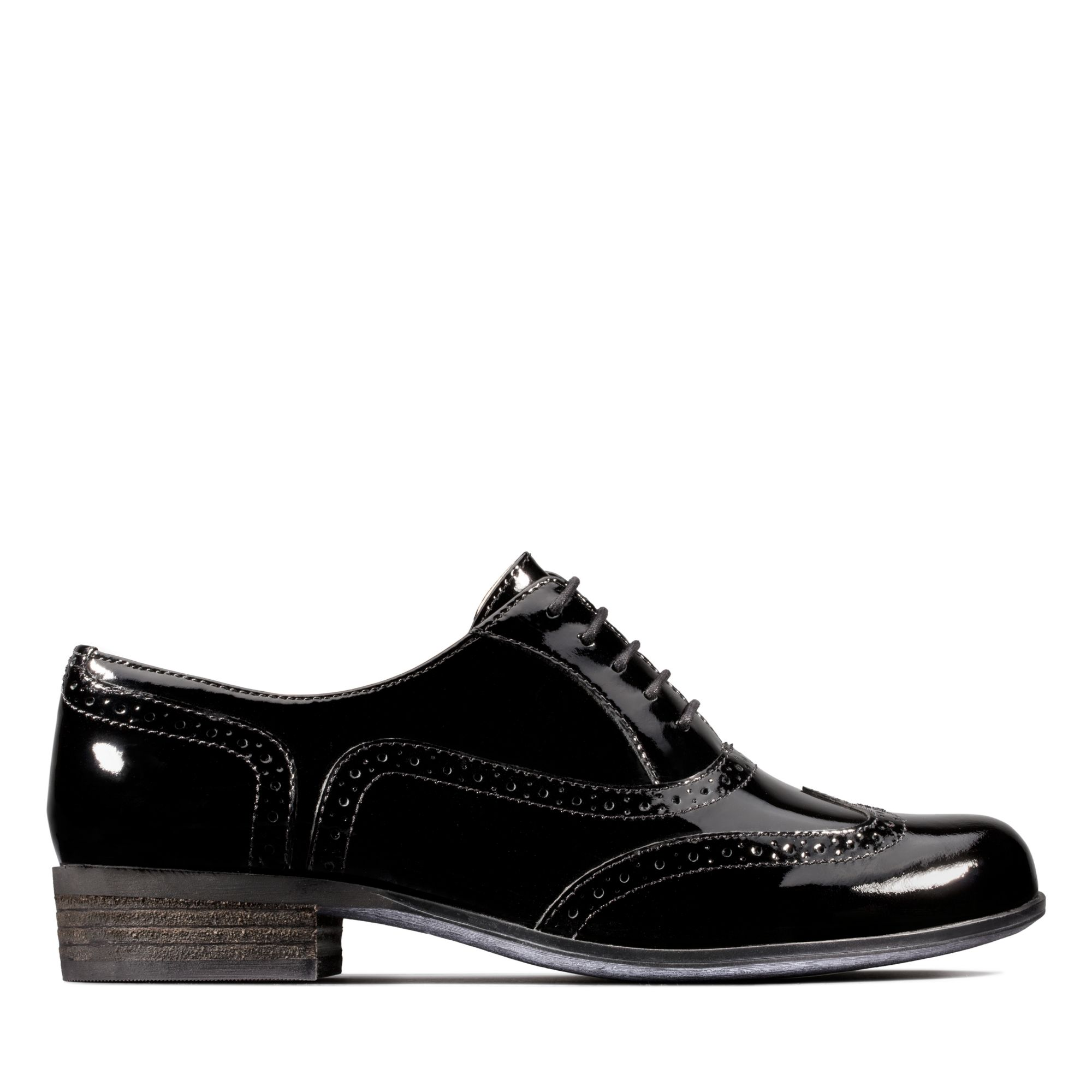 Clarks Wide Fit Black Patent Brogues