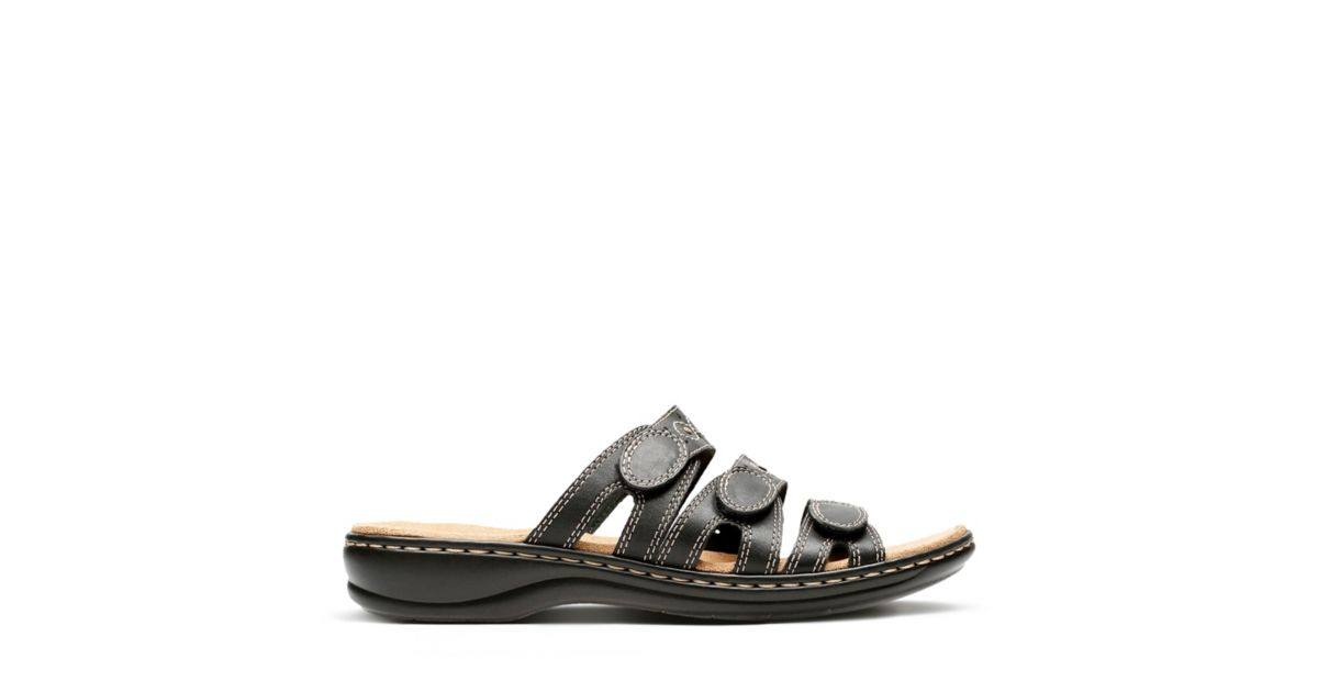 4f3b4a0ce081 Leisa Cacti Q Black Leather - Womens Slide Sandals - Clarks® Shoes Official  Site
