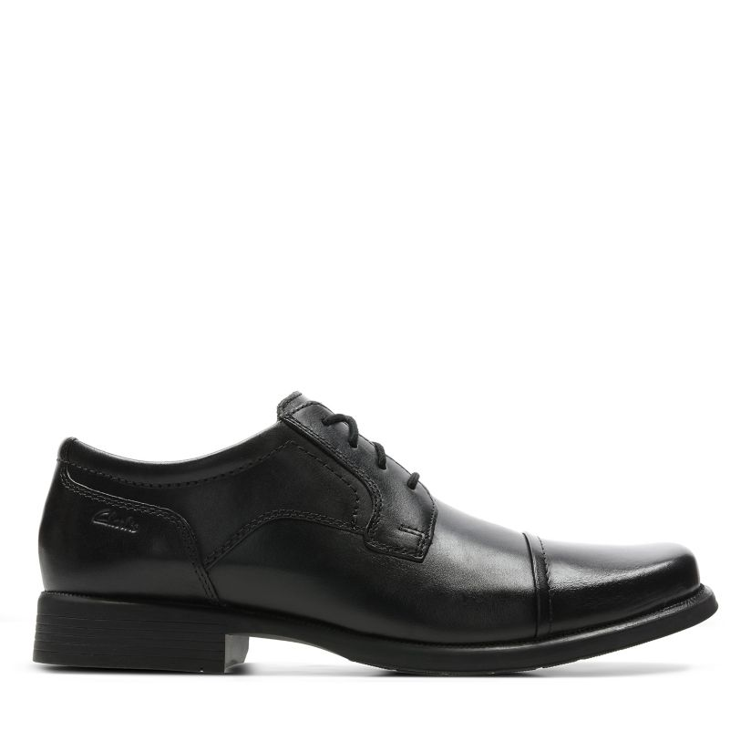 Mens Clarks Formal Squared Toe Lace Up Smooth Leather Shoes Huckley Cap