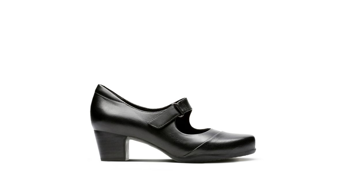 Rosalyn Shoes Clarks® Leather Black Wide Fit Women's Wren Heels UqzMpSVLG