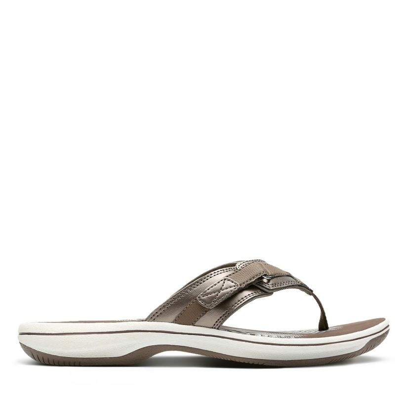 639f156e8 Breeze Sea Pewter Synthetic - Women's Flip Flop Sandals - Clarks® Shoes  Official Site | Clarks
