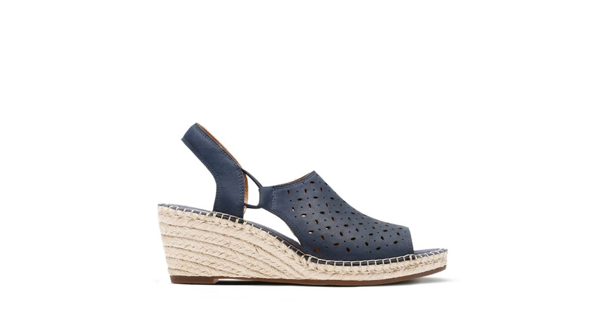 560b4abe244 Petrina Gail Navy Nubuck - Womens Wedge Sandals - Clarks® Shoes Official  Site