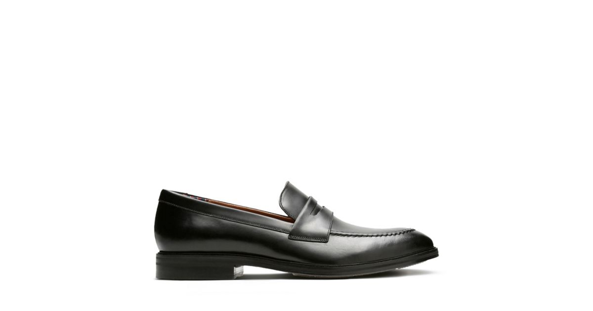 377a85efe4d Mckewen Step Black Leather - Men s Loafers and Slip-Ons - Clarks® Shoes  Official Site