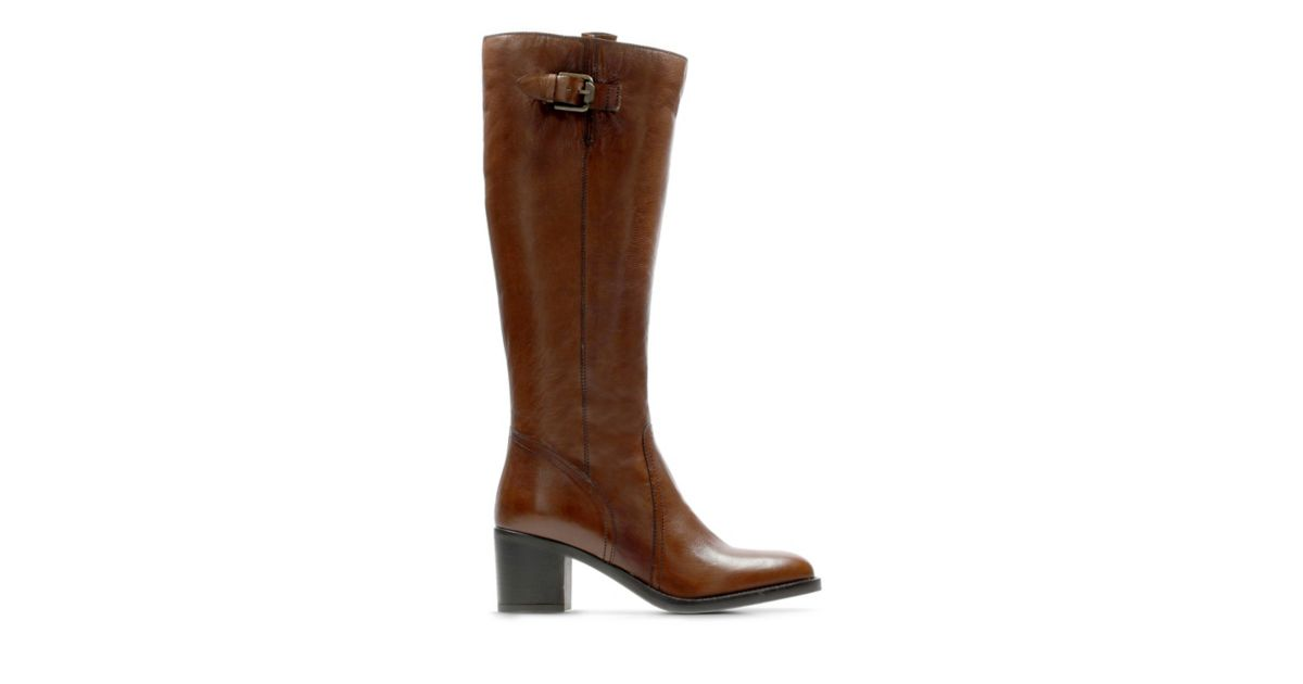 Ladies Clarks Heeled Knee High Boots /'Mascarpone Ela/'