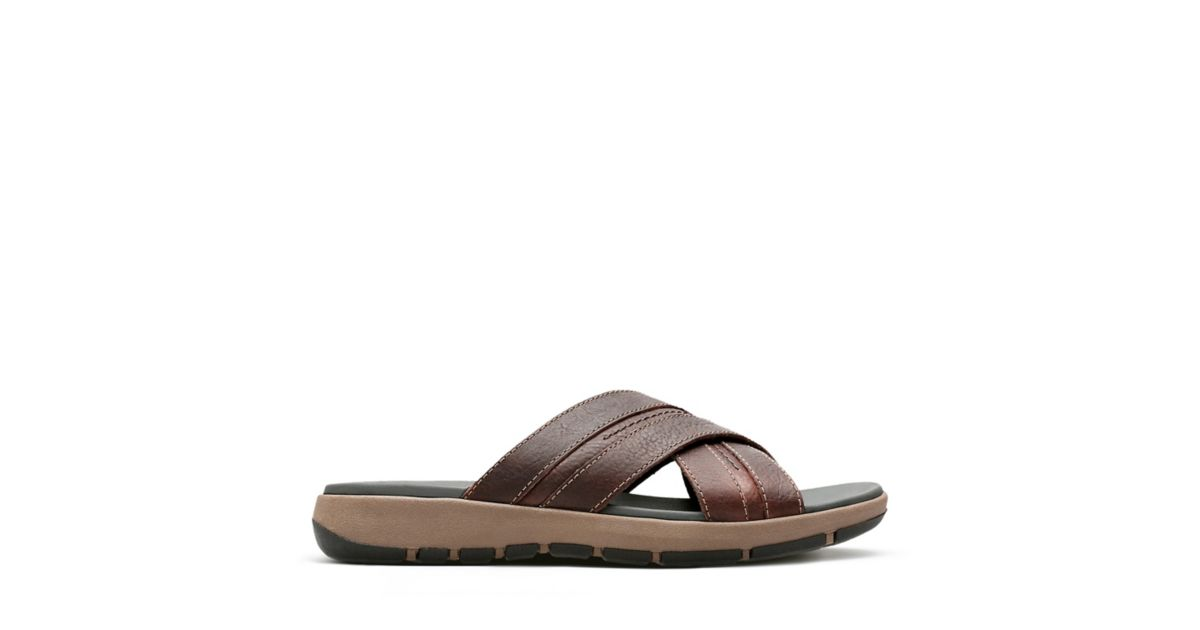 5b1f45664c55 Brixby Cross Dark Brown Leather - Mens Slide Sandals - Clarks® Shoes  Official Site