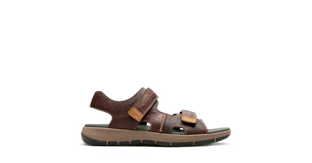 3ba85d52c74dd Brixby Shore Dark Brown Leather - Mens Slide Sandals - Clarks® Shoes  Official Site | Clarks