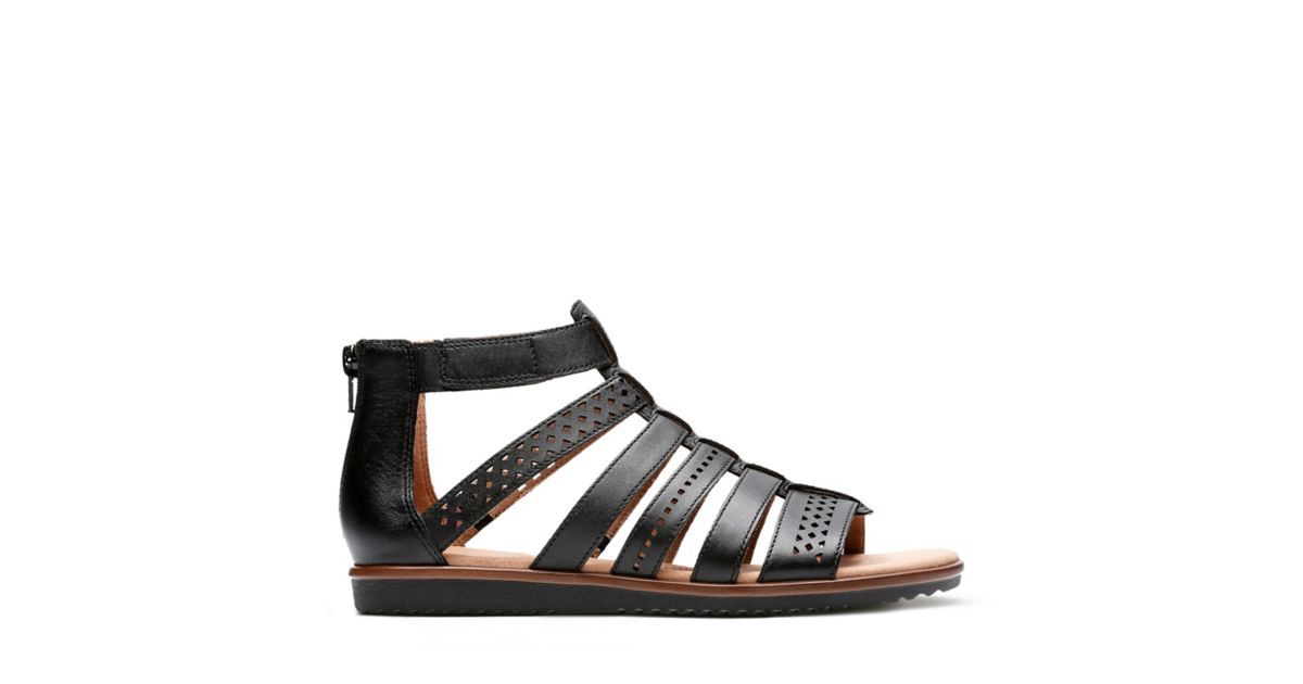 39b52cce9680 Kele Lotus Black Leather - Womens Flat Sandals - Clarks® Shoes Official  Site