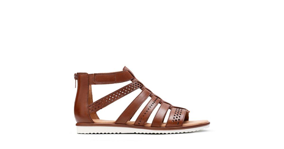 e80d1bbdf3d Kele Lotus Tan Leather - Womens Flat Sandals - Clarks® Shoes Official Site