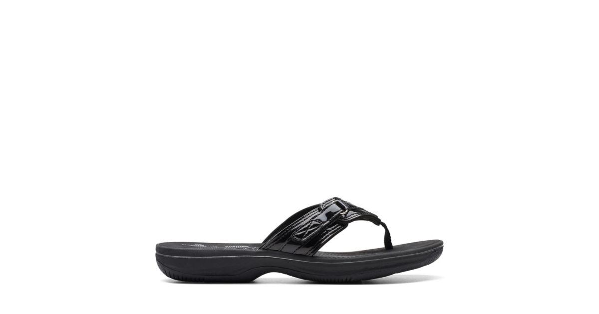 25d2d982d4a Breeze Sea Black Synthetic Patent - Women s Flip Flop Sandals - Clarks®  Shoes Official Site