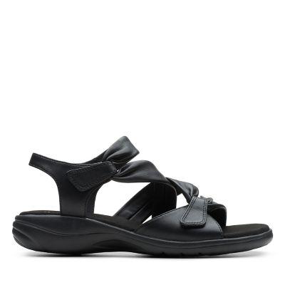 BNIB Clarks Ladies Glacier Cool Black Leather Heeled Sandals