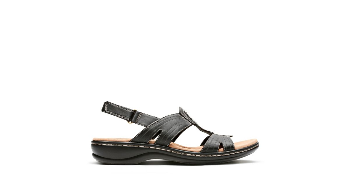 bd087861593 Leisa Vine Black Leather - Womens Sandals - Clarks® Shoes Official Site