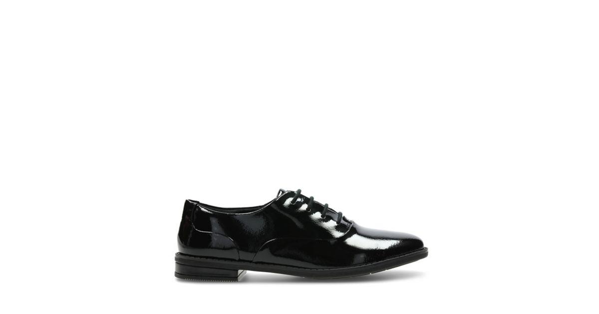 Black Patent Lace Up School Shoes Clarks