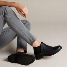 1e9fb0230 Demi Beat Black Leather - Women's Boots - Clarks® Shoes Official ...