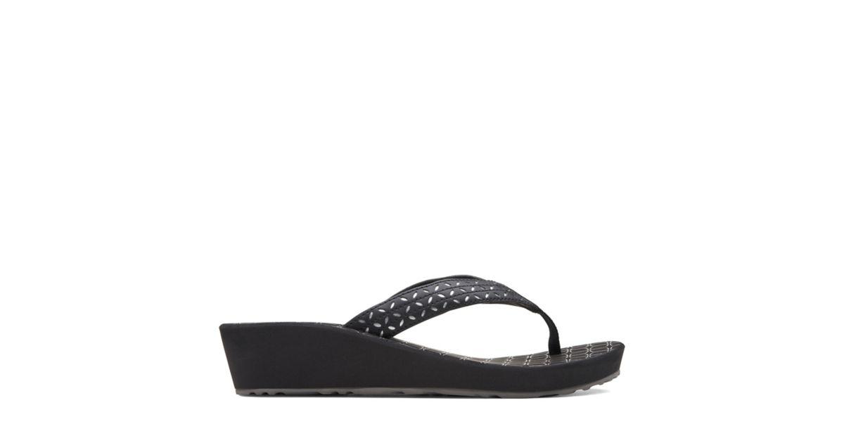 7edc5000db4b Liya Gaze Black Synthetic - Women s Flip Flop Sandals - Clarks® Shoes  Official Site